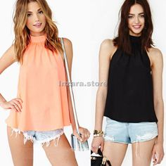 Fashion Womens Strapless Sleeveless Chiffon Casual Loose Shirts Tops Blouse Gift #OTHER #Blouse #Casual