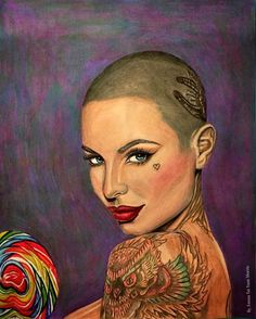 Some  Christy Mack @christymack shaved head color realism portrait candy artwork.#christymack #candy  #vogue  #artsy #cali #nikkohurtado #girl #3d  #tattooed  #art #artwork #beautiful  #model #portraits #sugar #fantasy #westcoast #drawing #victoriassecret #photorealism #tattoos  #ink #colorrealism #color #inked #socal #portrait #losangeles #la #europe