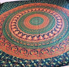 Cotton Floral Tapestry Hippie Wall Green Color Mandala Beach Blanket Flat Sheet