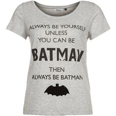 ONLY BATMAN Print Tshirt ($28) ❤ liked on Polyvore featuring tops, t-shirts, shirts, batman, grey, henley t shirt, henley shirt, women tops, grey tee and t shirts
