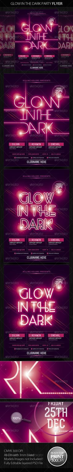 Glow in the Dark Party Flyer — Photoshop PSD #club #design • Available here → https://graphicriver.net/item/glow-in-the-dark-party-flyer/5060233?ref=pxcr
