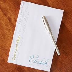 This personalized notepad is so beautiful!!! I love the font and colors! You can personalize it with your name and you get to pick the inspirational quote for the side ... this would be so nice and fun to have at work!