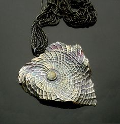 Fine silver & Labradorite Pendant by Vaasvara Jewelry -   Hand-sculpted, textured, patina and polished