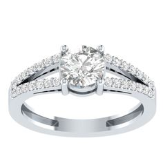 1.5ct Diamond Solitaire Engagement Wedding Ring 14k White Gold Over 925 Silver #RegaaliaJewels #SolitairewithAccents #Engagement