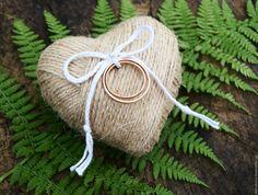 Купить Подставка для колец в стиле Рустик - бежевый, подставка для колец, подушка для колец, в стиле рустик