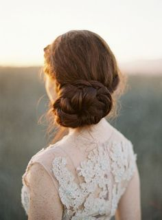 low chignon updo with braids
