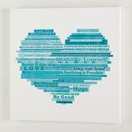 Fill a shape with words that express her! Cute! Make it in contrasting colors to her room! I'm soooo doing this!