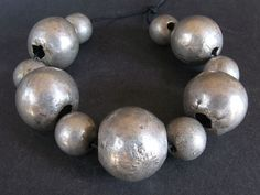11 Old TWO SIZE SPHERICAL HOLLOW SILVER beads. YEMEN. Hard to find!