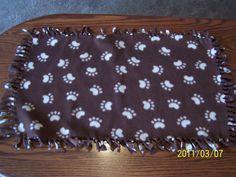 Paw Print Fleece Dog Chew Blanket  Small by kayandgirlscrafts, $5.00