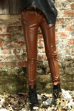 Zipped Brown Leather Pants. Punkish/Bold Style