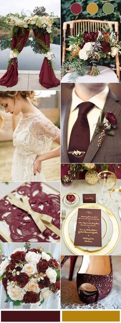 Chic Burgundy and Gold Wedding Color Combinations for Autumn 2017 #weddingdecoration