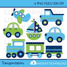 Transportation Clip Art INSTANT DOWNLOAD by LittlePrintsParties, $5.00