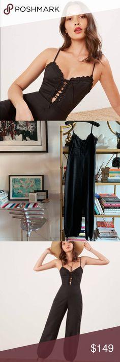 e8a631245418 Reformation Rose Black Linen Jumpsuit