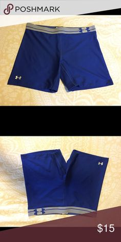 Under armour royal blue running shorts Under Armour royal blue running shorts. Size large. I purchased them from another posher and was told I was getting a medium. They are a large, so they are too big for me. Super cute. They were brand new w/tags but I took the tags off when I got them. The only time they have been worn is when I tried them on. They are brand new. Under Armour Shorts