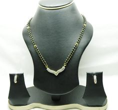 JWR4331 : White American Diamond Studded Mangalsutra Set