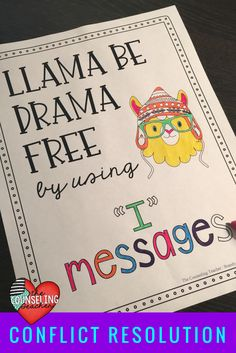 """Students learn conflict resolution skills with the Drama Llama's """"I"""" messages."""