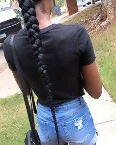 "G L A M O U R S T Y L E S on Instagram: ""Sleek Middle Part Braided Ponytail 🌹 • • • #boblocs #prettyhair #braidsbraidsbraids #blackgirlhair #atlbraider #atlantahairstylist…"""
