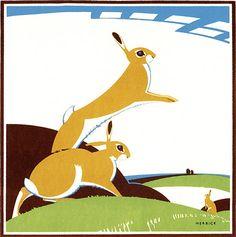 Vintage Rabbit Illustration---Frolicking