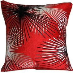 Pillow Cases Standard Size, CaseShell® Fireworks Pattern Cotton Linen Square Throw Pillow Case Decorative Cushion Cover Pillowcase Pillowslip for Home Sofa 18x18 Inches - Red >>> Don't get left behind, see this great product offer    FREE Home Decor