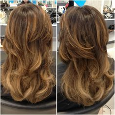Well blended balayage with a beautiful dark to light transformation, finished off with a gorgeous bouncy blow-dry.