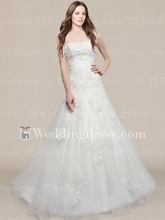 8308c6f0f90 Vintage Tulle Scoop Wedding Gown with Beaded Lace Appliques  http   www.inweddingdress