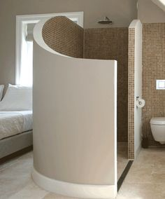 Don't think I'd like the shower steam in the bedroom. Maybe if the curved sloping wall was topped with glass....