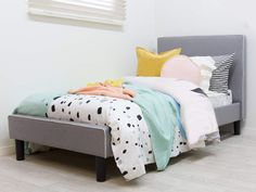 The Darcy Bed features the best in modern design for kids' bedrooms. This grey or black fabric bed has trend-setting style to last as your child grows. Kids Beds For Boys, Kid Beds, Modern Bedroom Furniture, Kids Furniture, Furniture Design, Boy Headboard, Grey Upholstered Bed, King Size Bed Frame, Teen Bedroom Designs