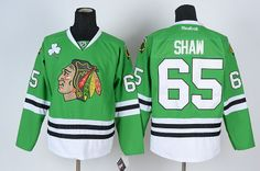 Chicago Blackhawks #65 SHAW Green