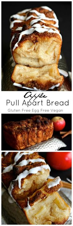 Vegan Meal Plan & Recipes for Beauty & Weight Loss, Includes Snacks. Dawn Ali - Apple Pull Apart Bread (gluten free dairy free egg free vegan)- Sweet and sticky slices of bread filled with warm cinnamon and apple! Gluten Free Sweets, Vegan Sweets, Gluten Free Baking, Vegan Desserts, Vegan Gluten Free, Dessert Recipes, Lactose Free, Dessert Bread, Apple Desserts