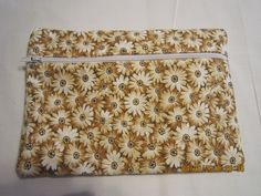 "8"" Cosmetic Bag / Make Up Bag / Pencil Pouch - Sunshine Floral {Brown} by ShawnasSpecialties on Etsy"