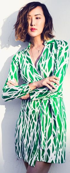 Dvf Green And White Twigs Print Silk Jersey Belted Wrap Mini Dress by The Christelle Factor