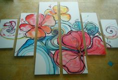 abstract flowers, waves by Colleen Wilcox -- Artist living in Hawaii