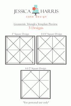 Geometric Triangle Cake Template - 3 Designs - Jessica Harris Cake Design