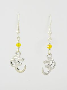 Om in Antique Silver with Yellow Crystals