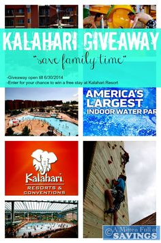 It's time to start spending more time with our Family.  You can do so by taking a few days away and spend them at Kalahari Resort! Not only will you have some great bonding time with your family, but fun in the water (in and outside) plus see animals up close and personal.  Plus you can hop over to the blog to enter for your chance to win a free stay->http://www.amittenfullofsavings.com/save-family-time-kalahari-prize-pack-giveaway/ #kalahari