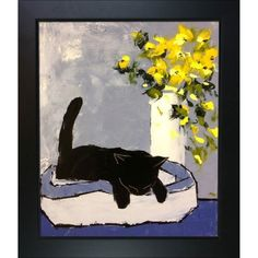 Black cat is sleeping with New Age Black Frame 20'X24'