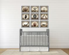 Sports Themed Wall art for boys, Vintage Sports Set of 9 Photo prints ready for framing, baseball, basketball, soccer, football, golf, lacrosse and boxing, Sport Nursery decor, or Man cave wall art. This listing is for a set of 9 Vintage Sports Photos ready to go in your frames in whatever size you choose from the drop down menu. (sample shown represents about 11x14s). You can also choose the set in either vintage grey background or vintage brown. All my photos are printed with love on...