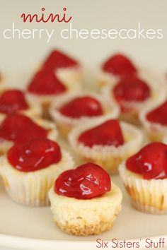 Six Sisters Mini Cherry Cheesecake Recipe are so good with cherry pie filling of top! I added tsp vanilla to recipe Mini Desserts, Brownie Desserts, Bite Size Desserts, Just Desserts, Delicious Desserts, Dessert Recipes, Yummy Food, Finger Desserts, Mexican Desserts