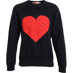MSGM Fleece Cotton Sweater with Heart Motif found on Polyvore