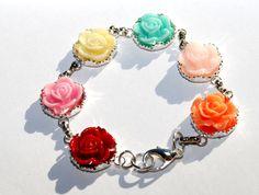 Garden Flower Bracelet with Pink Red Mint Cream by JustWearThese
