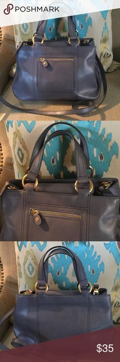 """ELLEN TRACY CROSSBODY TOTE! A great addition to your luxury purse collection.    Laveder/blue in color with gold accents and feet on the bottom.  Color closest to pics 5&6.  Some minor surface scratches as pictured, but nothing takes away from the beauty of this baby!!!!  15"""" wide, 9"""" tall.  Straps extend 6"""". Clean inside and out.  NA Ellen Tracy Bags Crossbody Bags"""