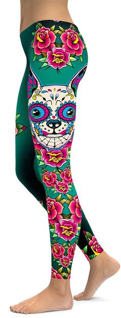 Sugar Skull Chihuahua Leggings