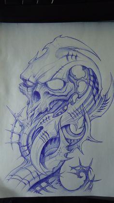 biomech skull design by DiegoCT92.deviantart.com on @DeviantArt