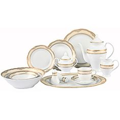 Canopy Beaded Porcelain 32-Piece White Dinnerware Set Value Bundle ...