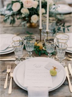 simple and refined: natural fruit, loose florals, gold flatware | photo by Laura Gordon