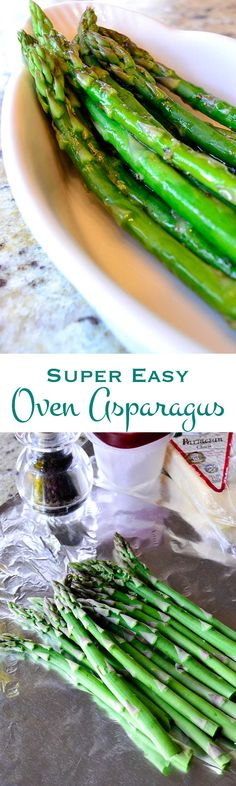 """Oven asparagus will redefine """"easy"""" in the kitchen. The result is a perfectly tender crisp asparagus side dish and no clean-up."""