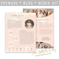 Media Kit Template For Bloggers & by DutchLadyDigiDesign on Etsy