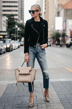 Black Suede Moto Jacket Black Sweater Denim Ripped Jeans Celine Mini Belt Bag Leopard Heels Fall-Fashion Must Haves Fashion Jackson Dallas Blogger Fashion Blogger Street Style
