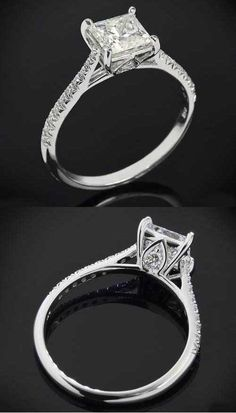 2 views of a beautiful Diamond Pave Setting with tapered band by Vatche for Whiteflash | Princess Cut Engagement Rings - bridesandrings.com