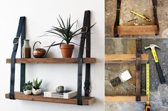 cool Wood and Leather Shelf http://1001diy.com/?p=2680